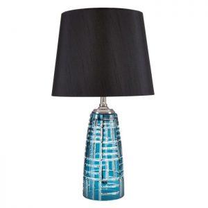 Unik bordlampe med fod i blåt glas.Bordlampens unikke design vil tilføje et skønt og anderledes udtryk i ethvert hjem. Lad den fede lampe pynte i stuen på et sidebord eller i en vindueskarm helt enkelt
