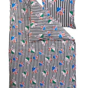 Stribet sengesæt med blomstermotiv. Sengesættet er fremstillet i blødt økologisk bomuldssatin